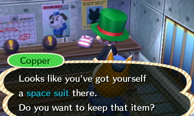Copper: Looks like you've got yourself a space suit there. Do you want to keep that item?