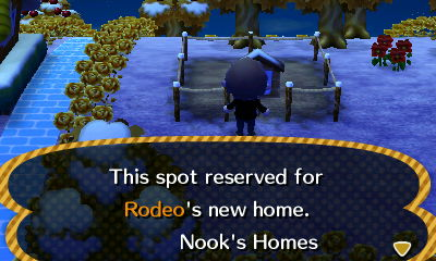Sign: This spot reserved for Rodeo's new home. -Nook's Homes