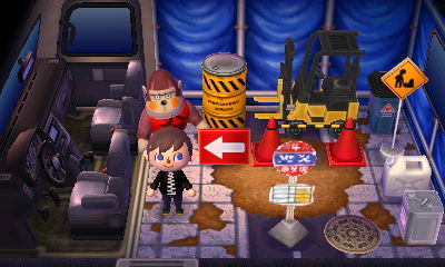 Boyd's RV with construction items.
