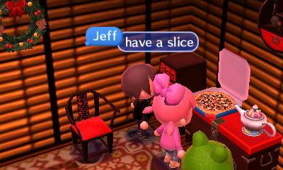 Jeff, to everyone standing near a pizza: Have a slice.