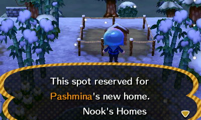 Sign post: This spot reserved for Pashmina's new home. -Nook's Homes