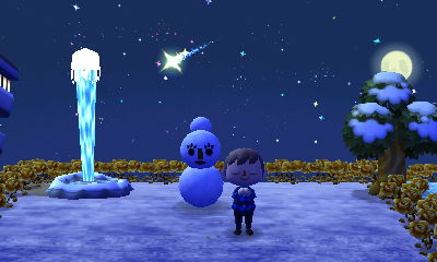 I wish on a shooting star near my geyser and snowmam.