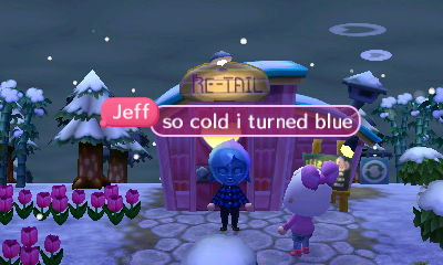 Jeff, wearing a blue Fi mask: So cold I turned blue.