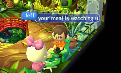 Jeff, to Beth: Your meal is watching you.