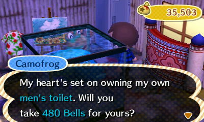 Camofrog: My heart's set on owning my own men's toilet. Will you take 480 bells for yours?