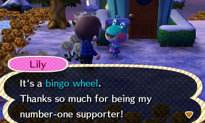 Lily: It's a bingo wheel. Thanks so much for being my number-one supporter!