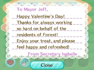 To Mayor Jeff, Happy Valentine's Day! Thanks for always working so hard on behalf of the residents of Forest! Enjoy your treat, and please fell happy and refreshed!