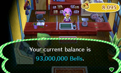 Your current balance is 93,000,000 bells.