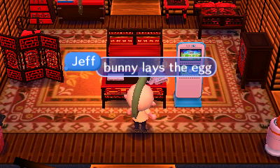 Jeff: Bunny lays the egg.