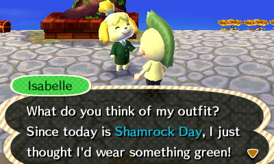 Isabelle: What do you think of my outfit? Since today is Shamrock Day, I just thought I'd wear something green!