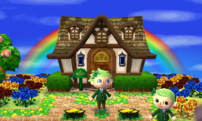Jeff stands in front of a house, near some pots of gold in the dream town of Shamrock.