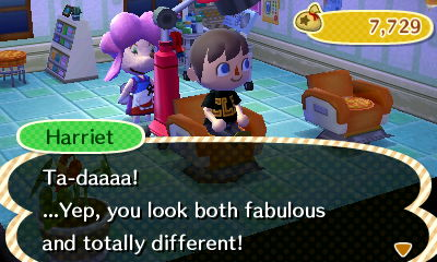 Harriet: Ta-daaaa! ...Yep, you look both fabulous and totally different!