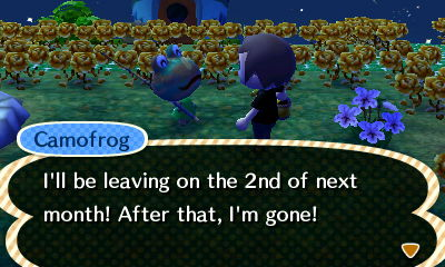 Camofrog: I'll be leaving on the 2nd of next month! After that, I'm gone!