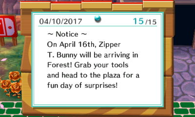 ~Notice~ On April 16th, Zipper T. Bunny will be arriving in Forest! Grab your tools and head to the plaza for a fun day of surprises!