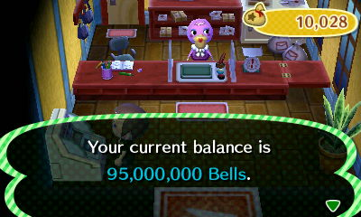 Your current balance is 95,000,000 bells.