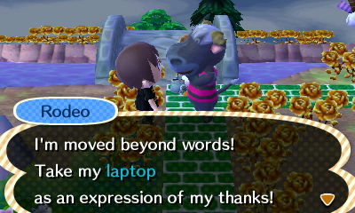 Rodeo: I'm moved beyond words! Take my laptop as an expression of my thanks!