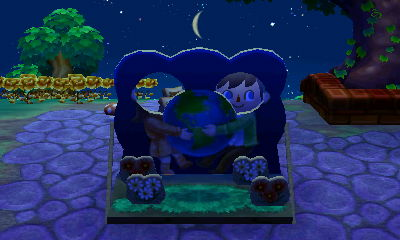 The face-cutout standee board for Nature Day (Earth Day) in Animal Crossing: New Leaf.
