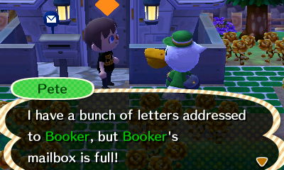 Pete: I have a bunch of letters addressed to Booker, but Booker's mailbox is full!