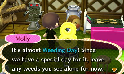 Molly: It's almost Weeding Day! Since we have a special day for it, leave any weeds you see alone for now.