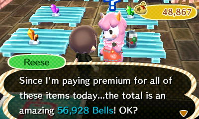 Reese: Since I'm paying premium for all of these items today...the total is an amazing 56,928 bells! OK?