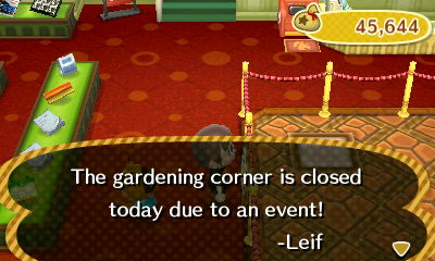 The gardening corner is closed today due to an event! -Leif