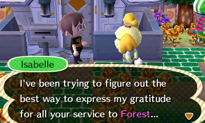 Isabelle: I've been trying to figure out the best way to express my gratitude for all your service to Forest...