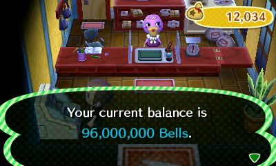Your current balance is 96,000,000 bells.
