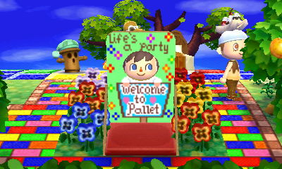 """Using a face-cutout standee that says """"Life's a party"""" and """"Welcome to Pallet."""""""
