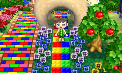 Standing on some colorful Lego block paths in the town of Pallet.