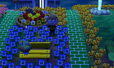 Camofrog sits on a yellow bench in Animal Crossing: New Leaf.