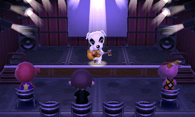 K.K. Slider performs for Octavian, Jeff, and Velma in Animal Crossing: New Leaf.
