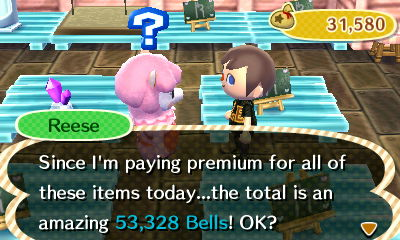 Reese: Since I'm paying premium for all of these items today...the total is an amazing 53,328 bells! OK?