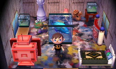 Inside Camofrog's house in Animal Crossing: New Leaf (ACNL) for Nintendo 3DS.