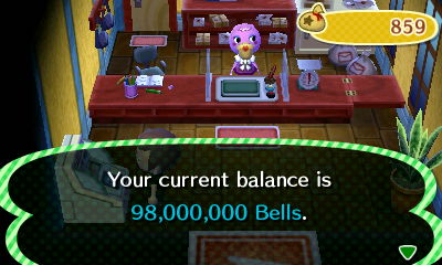 Your current balance is 98,000,000 bells.