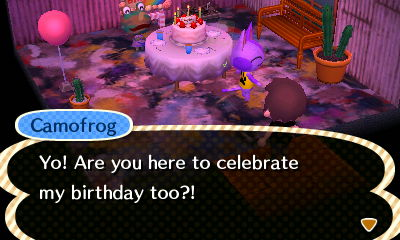 Camofrog: Yo! Are you here to celebrate my birthday too?!