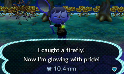 I caught a firefly! Now I'm glowing with pride!