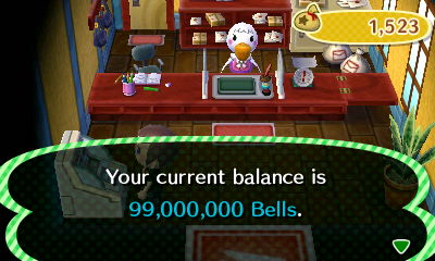 Your current balance is 99,000,000 bells.