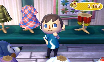 Jeff wearing the lightning tee in Able Sisters in Animal Crossing: New Leaf (ACNL) for Nintendo 3DS.