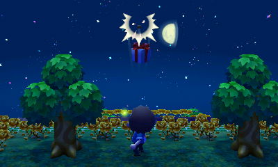 A balloon present pops as I shoot it with my slingshot in ACNL.