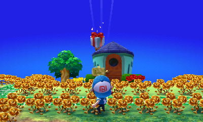 Shooting down a balloon present on the day of the summer solstice in ACNL.