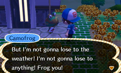 Camofrog: But I'm not gonna lose to the weather! I'm not gonna lose to anything! Frog you!