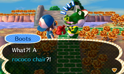 Boots: What?! A rococo chair?!