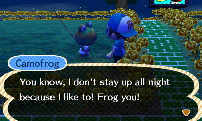 Camofrog: You know, I don't stay up all night because I like to! Frog you!