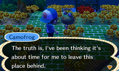 Camofrog: The truth is, I've been thinking it's about time for me to leave this place behind.