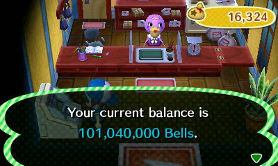 Your current balance is 101,040,000 bells.