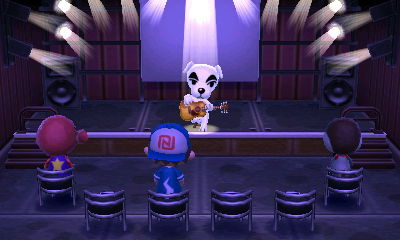 K.K. Slider performs for Octavian, Jeff, and Peck in Animal Crossing: New Leaf (ACNL) for Nintendo 3DS.