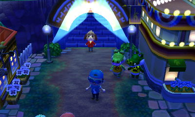 Drago and Boots hanging out on Main Street in Animal Crossing: New Leaf for Nintendo 3DS.