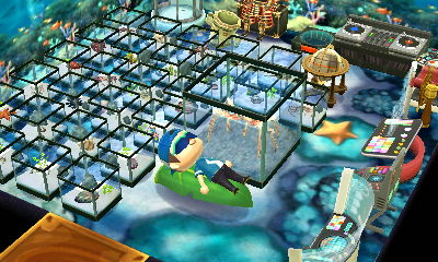 Resting in Matthew's home full of sea creatures in ACNL.