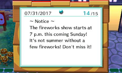 ~Notice~ The fireworks show starts at 7 p.m. this coming Sunday! It's not summer without a few fireworks! Don't miss it!