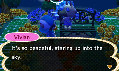Vivian, sitting on a bench: It's so peaceful, staring up into the sky.